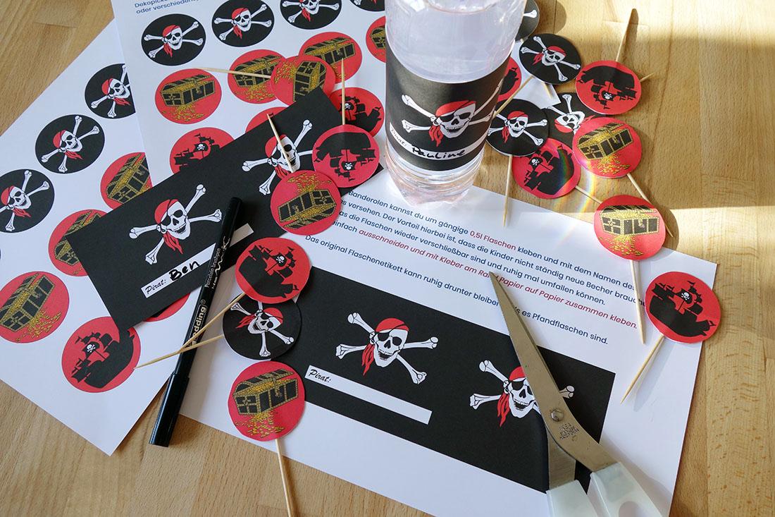 Piratengeburtstag Flaschenetiketten & Dekopicker