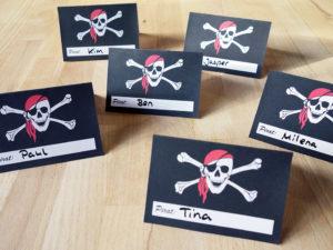 Namensschilder Piratengeburtstag