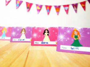 Prinzessin Geburtstag Namensschilder